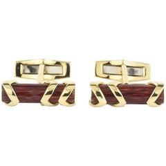 Garrard Mahogany Enamel and Gold Cufflinks