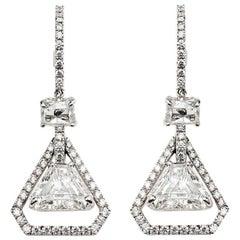 Trilliant Cut Diamond Drop Earrings