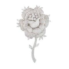 White Gold Diamond Rose Brooch 11.21 Carat