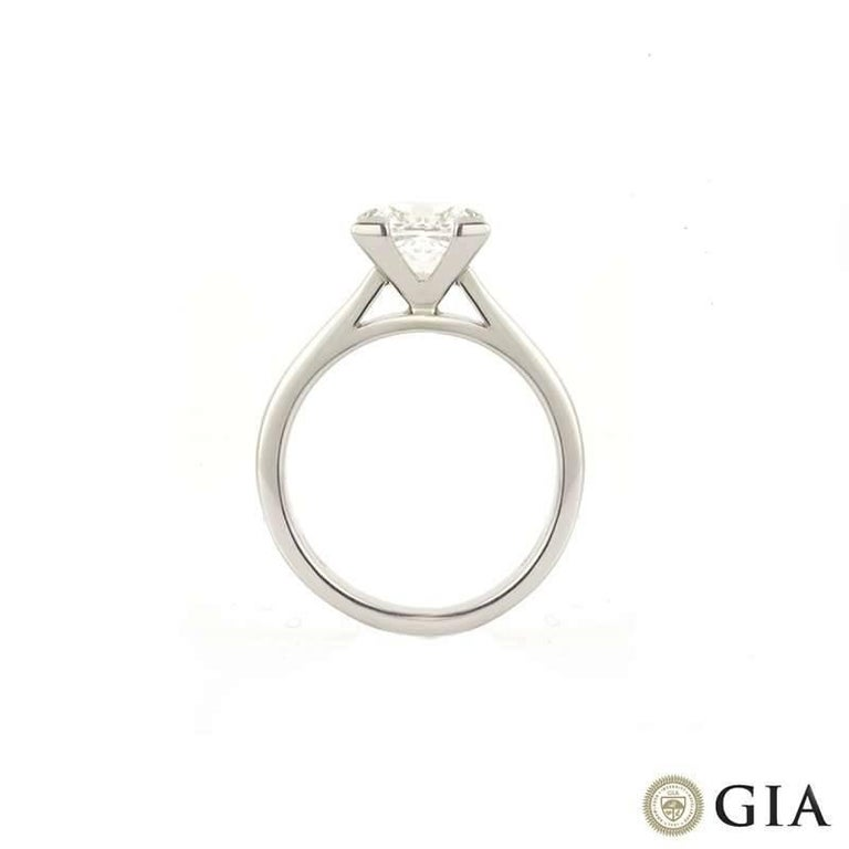 GIA Certified Princess Cut Diamond Engagement Ring 2.01 Carat In Excellent Condition For Sale In London, GB