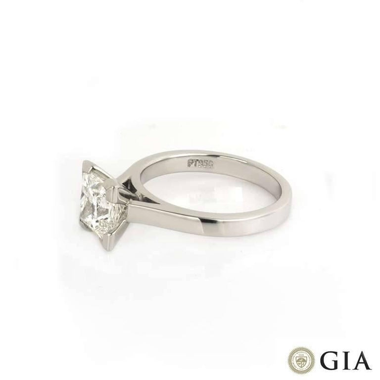 Women's GIA Certified Princess Cut Diamond Engagement Ring 2.01 Carat For Sale