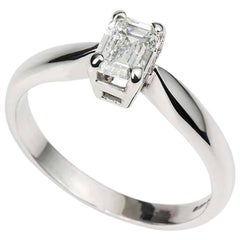 Certified Emerald Cut Diamond Engagement Ring 0.73 Carat