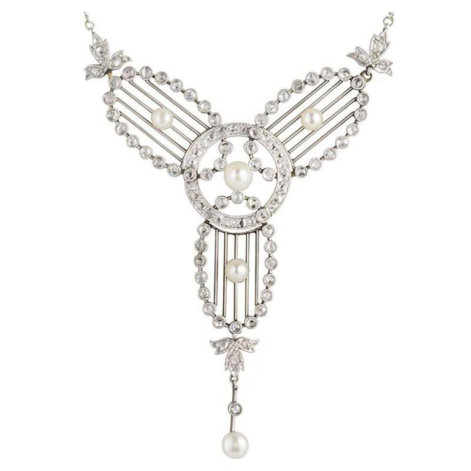 Art Deco Diamond, Pearl and Platinum Necklace