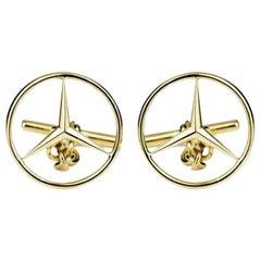 Mercedes Benz Emblem Gold Cufflinks