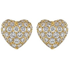 Cartier Yellow Gold Diamond Heart Earrings 1.50 Carat