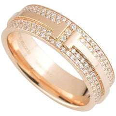 Tiffany & Co. T Two Rose Gold Diamond Band Ring