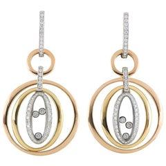 Chopard Tri-Color Happy Diamonds Drop Earrings