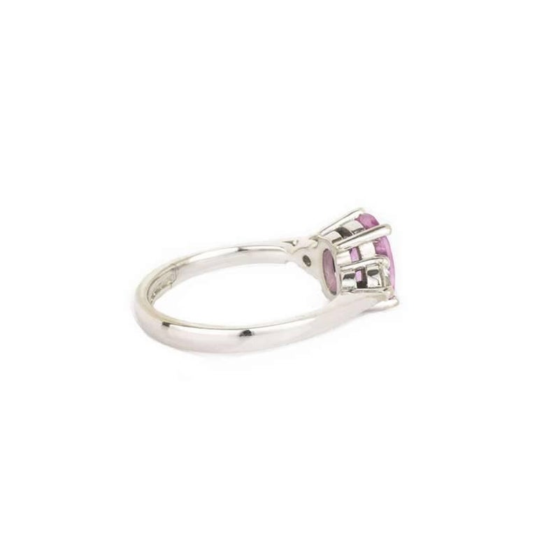 Oval Cut Three-Stone Pink Sapphire and Diamond Ring