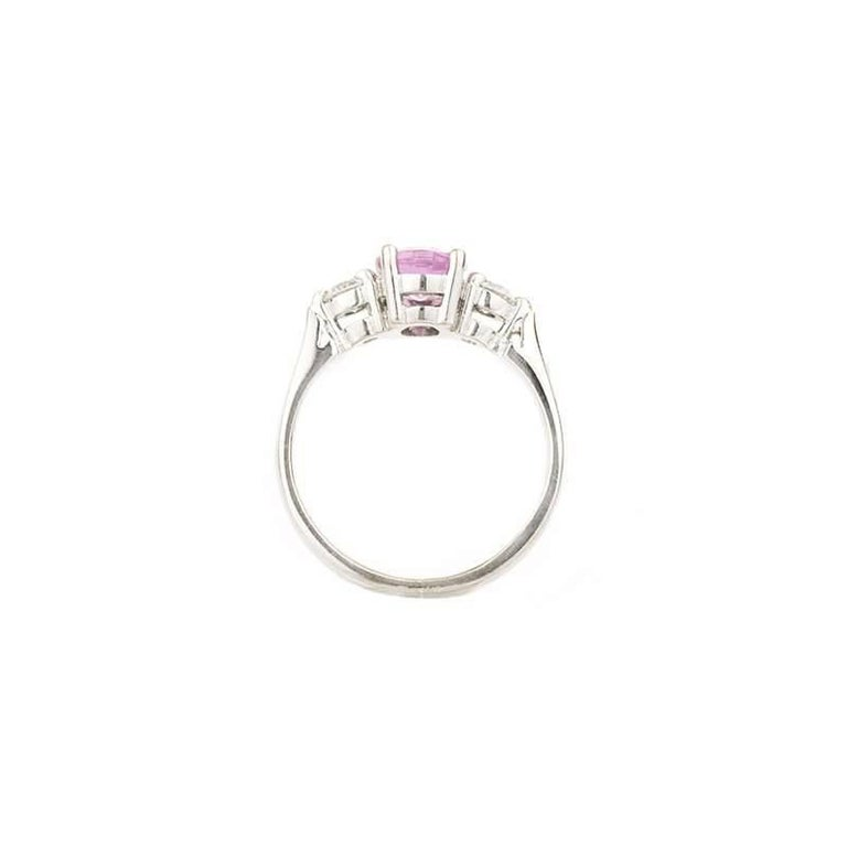Three-Stone Pink Sapphire and Diamond Ring In Excellent Condition In London, GB