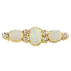 1900s Antique Opal and Diamond Brooch