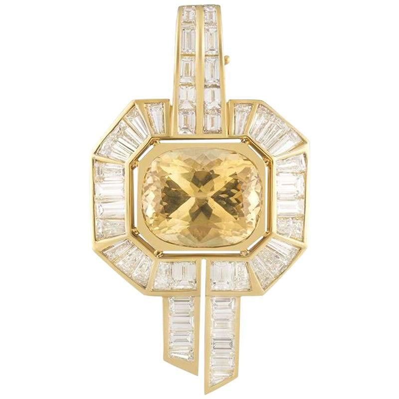Adler Diamond 5.90 Carat and Citrine 12 Carat Pendant