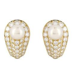 Cartier Pearl and Diamond Earrings 4.50 Carat