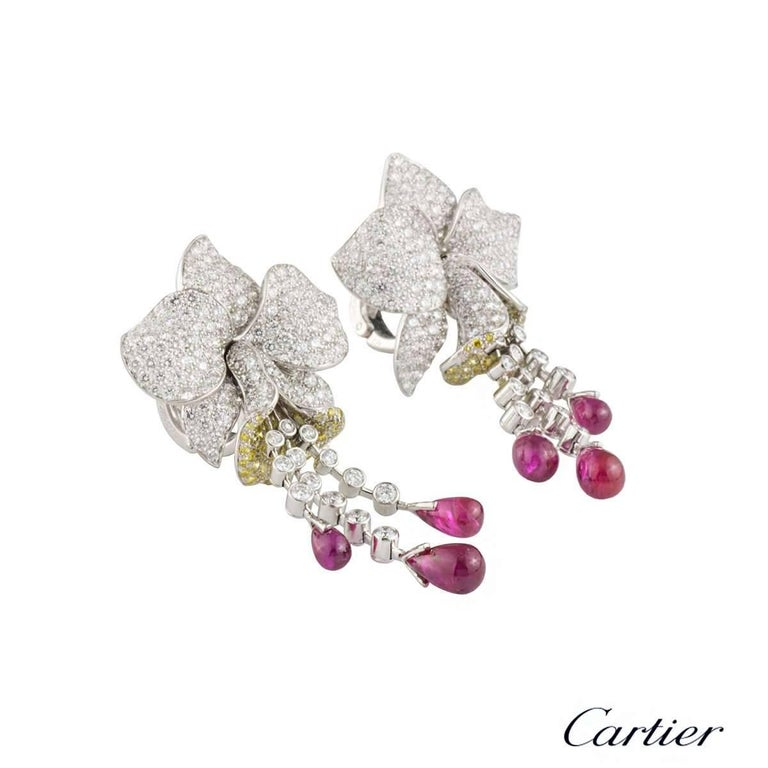 Cartier Caresse d'Orchidees Ruby Diamond Platinum Earrings In Excellent Condition In London, GB