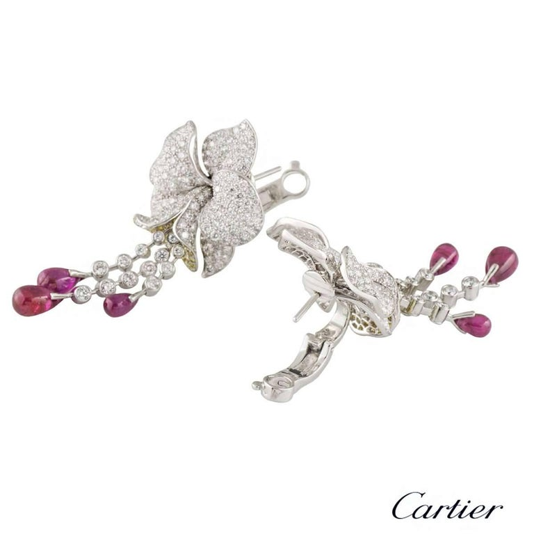 Women's Cartier Caresse d'Orchidees Ruby Diamond Platinum Earrings For Sale