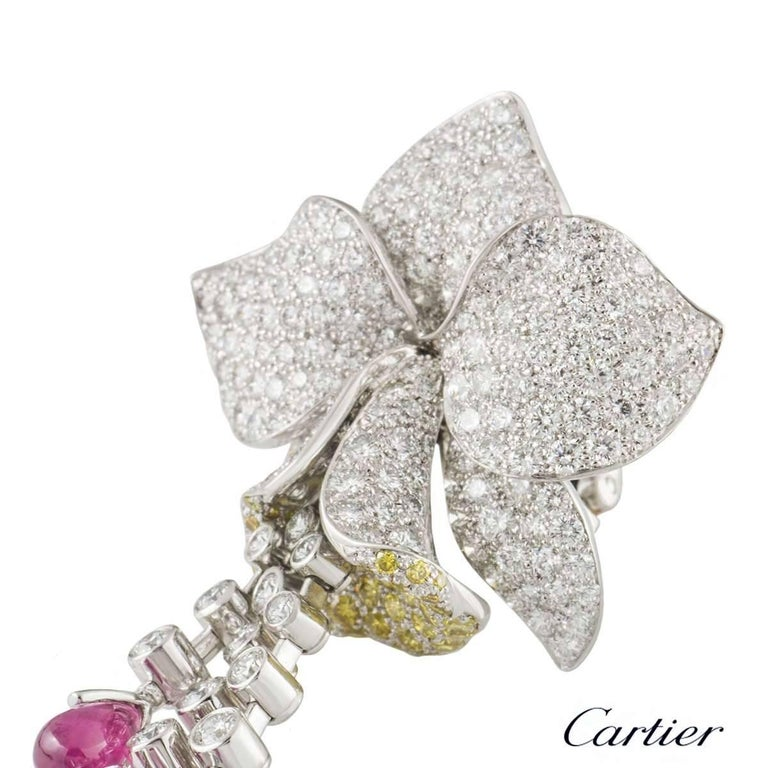 Cartier Caresse d'Orchidees Ruby Diamond Platinum Earrings 1