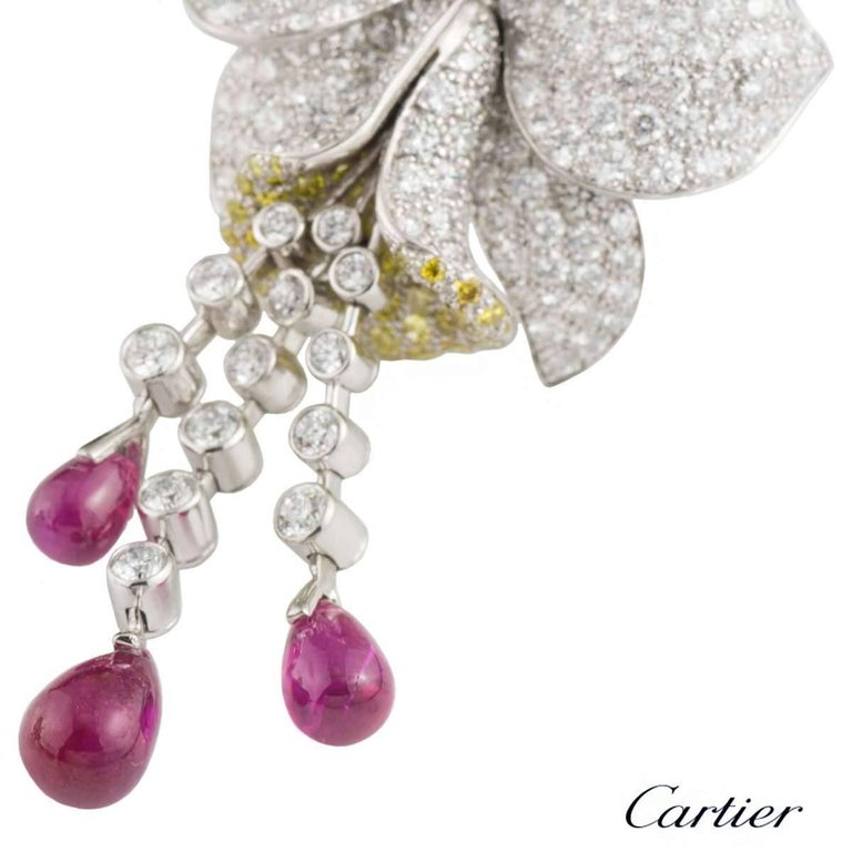 Cartier Caresse d'Orchidees Ruby Diamond Platinum Earrings For Sale 2