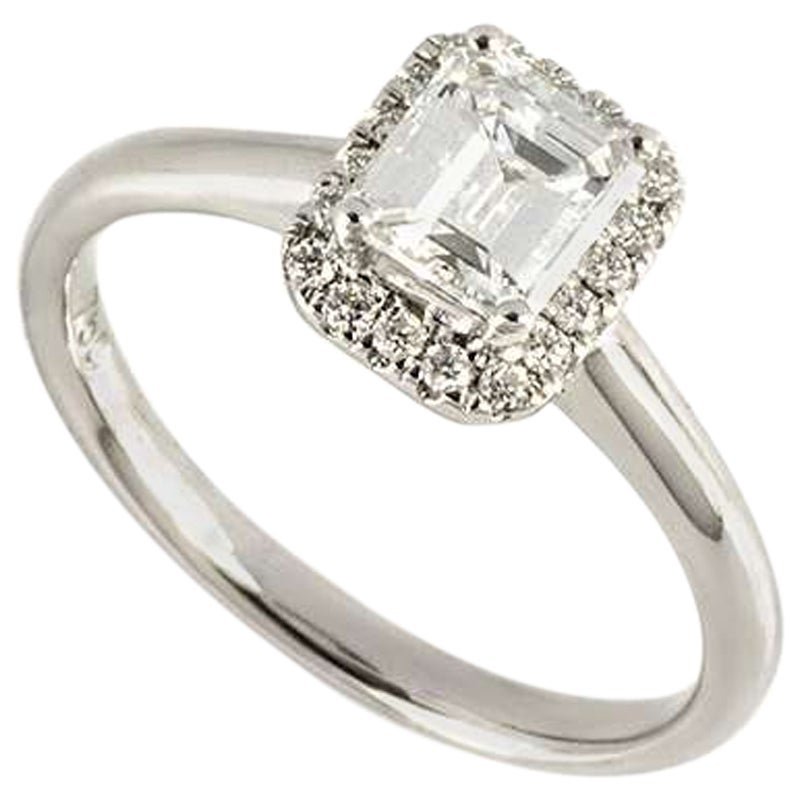 GIA Certified Emerald Cut Diamond Engagement Ring 0.74 Carat D Color