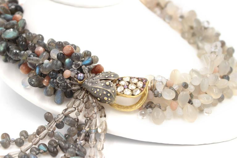 Women's Labradorite Moonstone Sunstone Tanzanite Crystal Quartz Diamond Gold Necklace For Sale