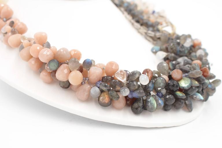 Labradorite Moonstone Sunstone Tanzanite Crystal Quartz Diamond Gold Necklace In New Condition For Sale In Santa Fe, NM