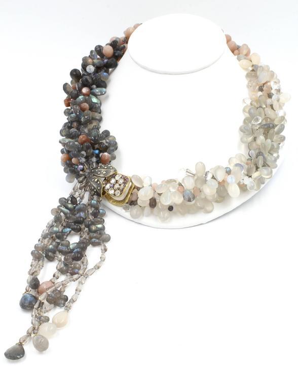 Contemporary Labradorite Moonstone Sunstone Tanzanite Crystal Quartz Diamond Gold Necklace For Sale