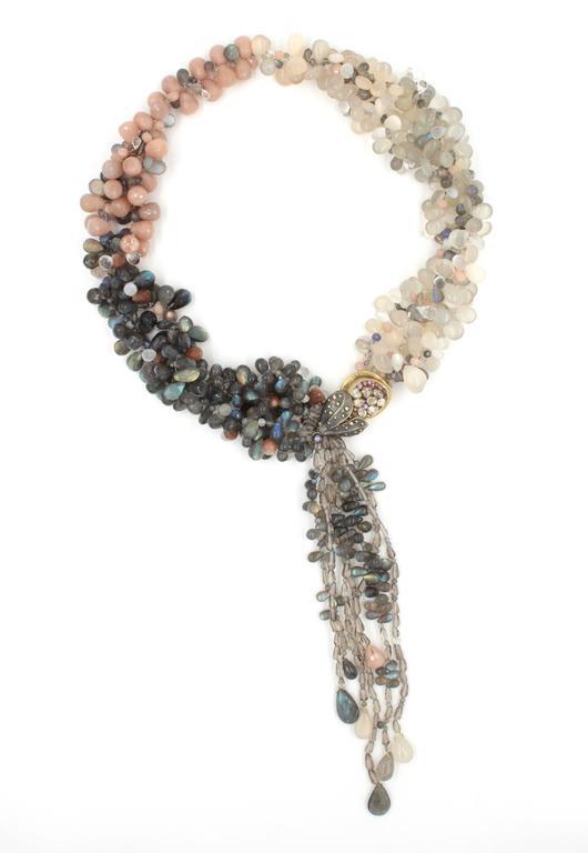 Labradorite Moonstone Sunstone Tanzanite Crystal Quartz Diamond Gold Necklace For Sale 2