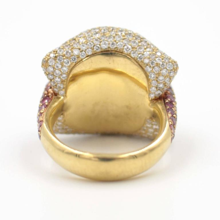 Ionescu Design White and Purple Diamond Gold Ring For Sale at 1stdibs