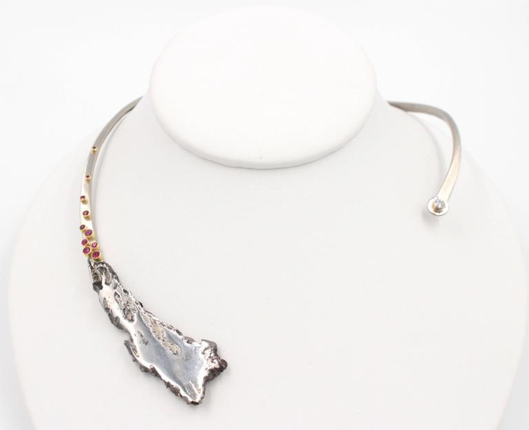 Meteorite Ruby Diamond Palladium torque Necklace For Sale ...