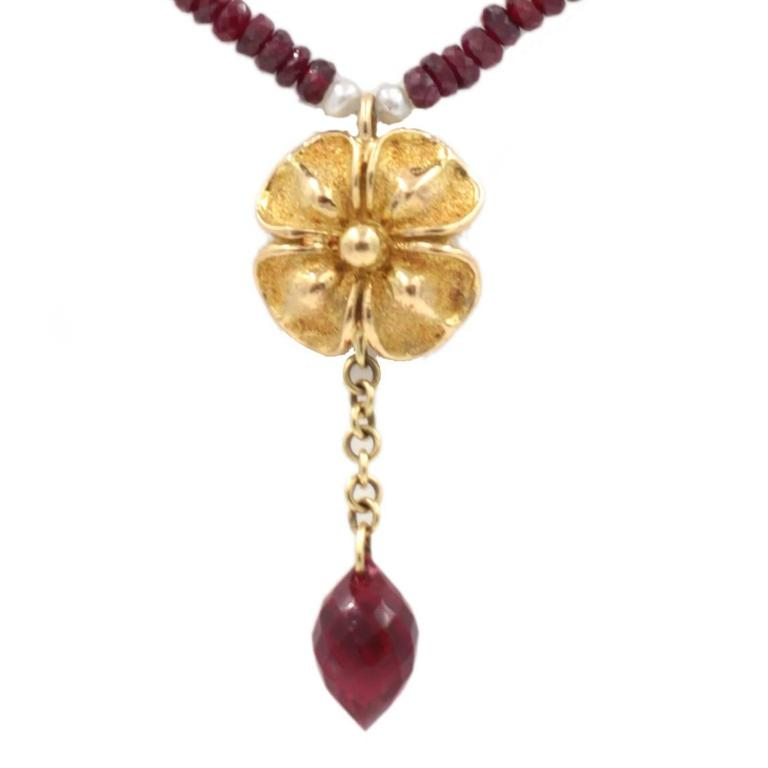 Sapphire Ruby Gold Necklace