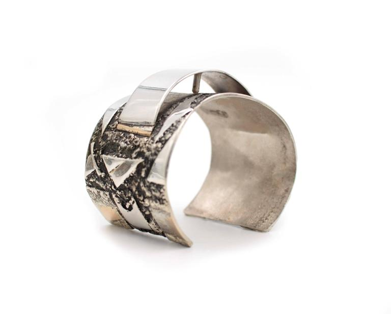 Sterling Silver Gold Cuff Bracelet with Arch 3