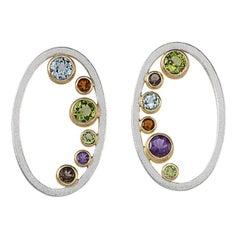 Janis Kerman, 18 Karat Gold and Silver Gem Stone Array Earrings, 18 Karat Gold