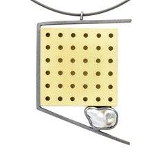 Janis Kerman, Grid Omega Necklace, 18 Karat Gold, Oxidized Sterling Silver