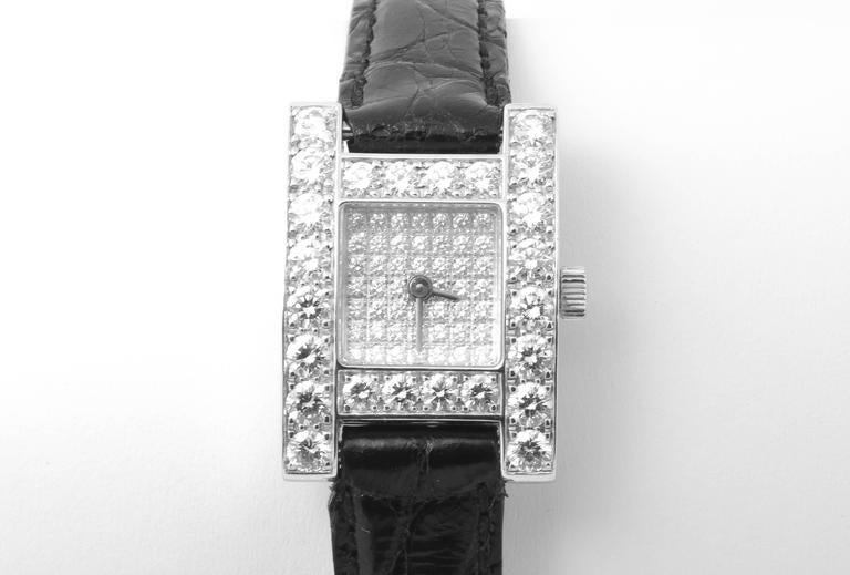White Gold & Diamond Chopard H Ladies Wristwatch 4