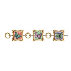 Stylish Bracelet Black Diamond Yellow Gold Hand Decorated with Micromosaic