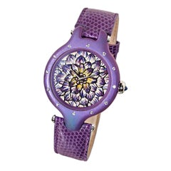 Stylish WristWatch Gold Titanium White Diamond Sapphire Lizard Strap Decorated