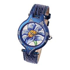 Sicis Blue Lilly Titanium Sapphire Diamond Micromosaic Gold Watch
