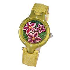 Sicis Violette Titanium Tsavorite Diamond Micromosaic Gold Watch