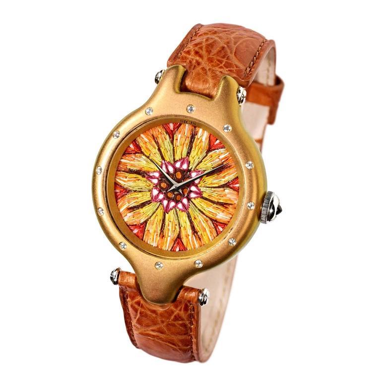 Sicis Gazania Titanium Diamond Micromosaic Gold Watch
