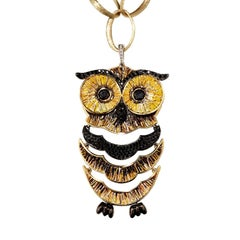Owl Pendant White & Black Diamonds Yellow Gold Hand Decorated with Micromosaic