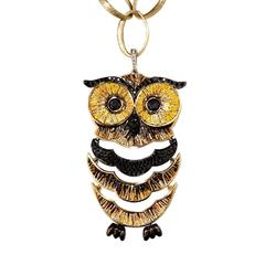 White and Black Diamond Gold Micromosaic Night Owl Pendant