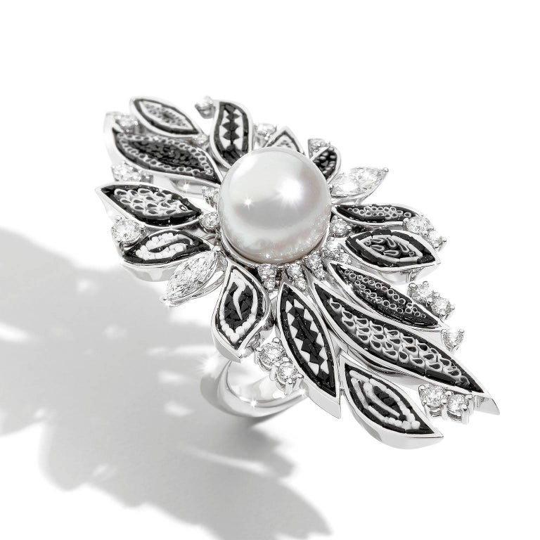 Contemporary Pearl Black White Micromosaic Diamond Cocktail Ring For Sale