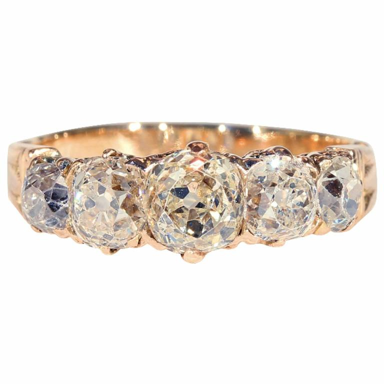 Victorian Five-Stone 2 Carat Diamonds Rose Gold Ring