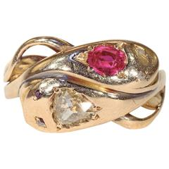 Victorian Ruby Diamond Gold Double Snake Ring
