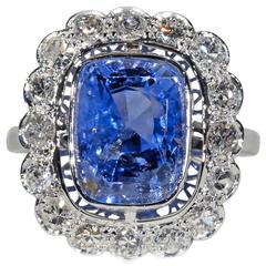 Belle Époque Untreated 7.37 Carat Ceylon Sapphire Diamond Cluster Ring