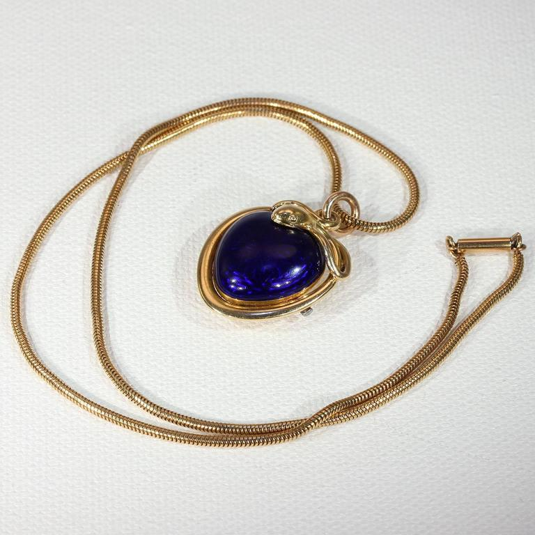Victorian Blue Enamel Snake Heart Pendant Necklace, 1851 2
