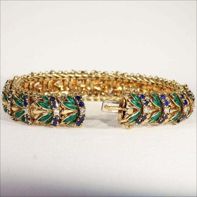 Modernist Enamel Sapphire Diamond Gold Bracelet For Sale