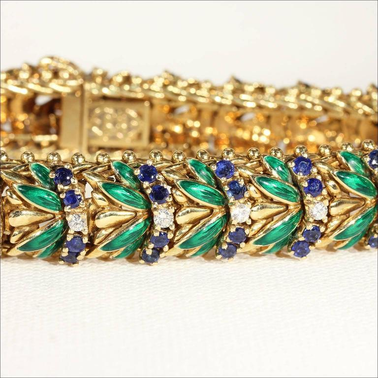 Enamel Sapphire Diamond Gold Bracelet In Excellent Condition For Sale In Middleton, WI