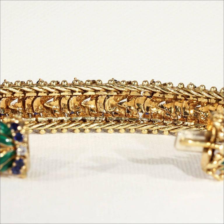 Women's or Men's Enamel Sapphire Diamond Gold Bracelet For Sale