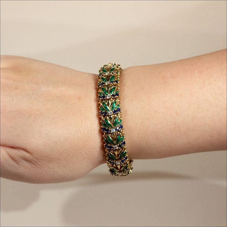 Enamel Sapphire Diamond Gold Bracelet For Sale 1
