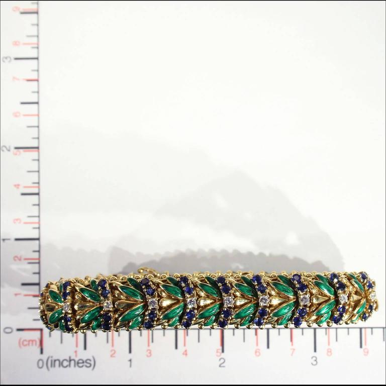 Enamel Sapphire Diamond Gold Bracelet For Sale 3