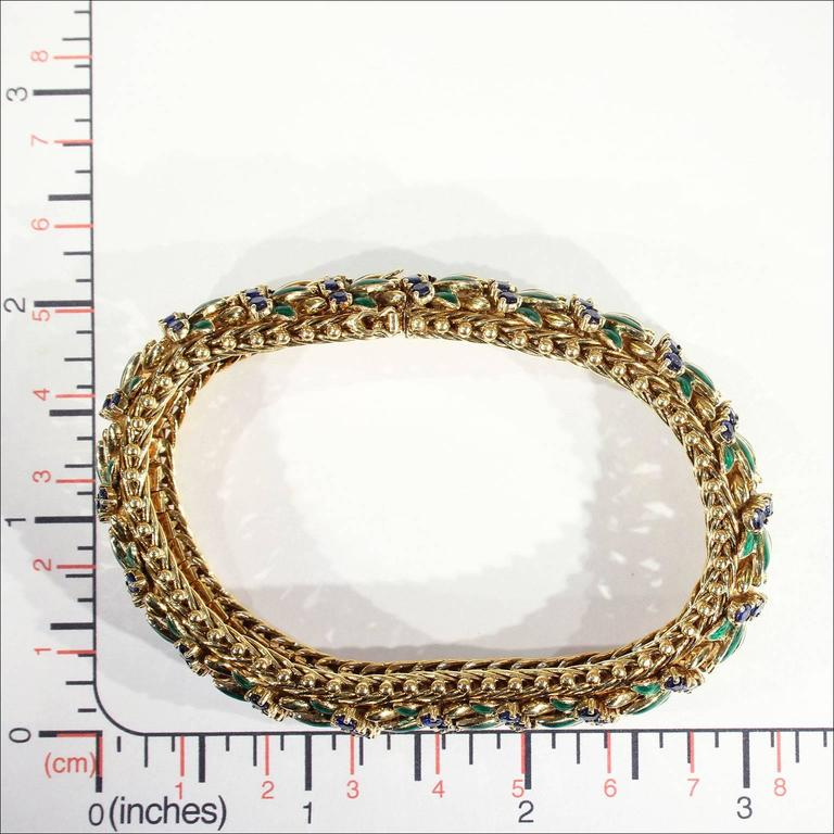 Enamel Sapphire Diamond Gold Bracelet For Sale 4